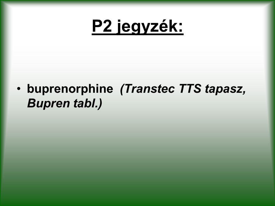 P2 jegyzék: buprenorphine (Transtec TTS tapasz, Bupren tabl.)