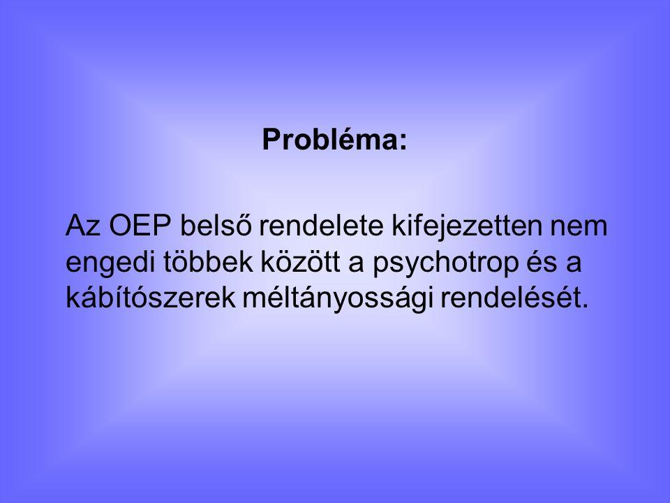 Probléma: Az OEP belső rendelete kifejezetten nem engedi többek között a psychotrop és a kábítószerek méltányossági rendelését.