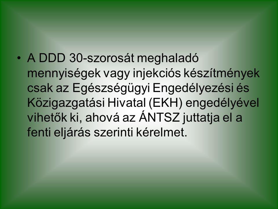 A DDD 30-szorosát meghaladó mennyiségek vagy injekciós készítmények csak az Egészségügyi Engedélyezési és Közigazgatási Hivatal (EKH) engedélyével vih