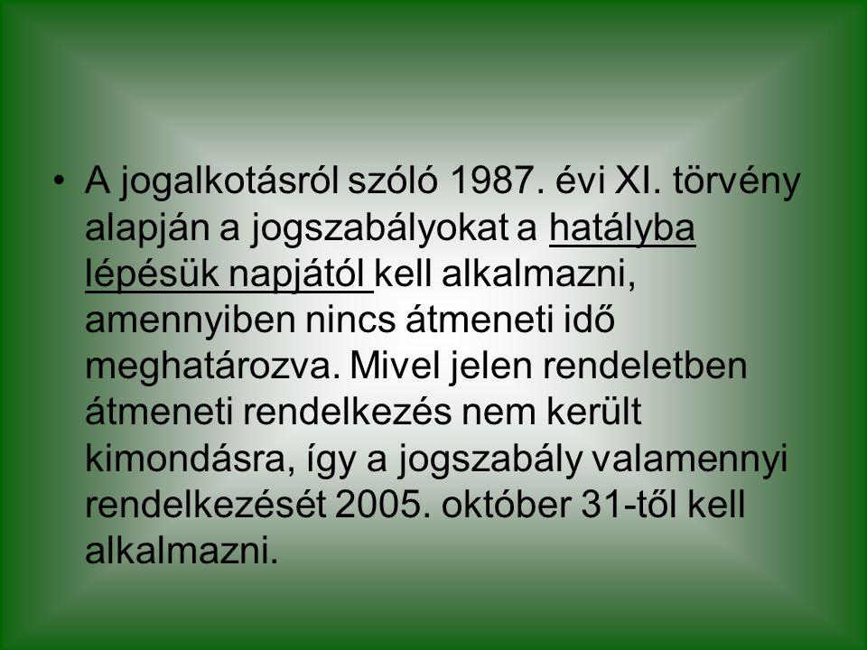 A jogalkotásról szóló 1987. évi XI. törvény alapján a jogszabályokat a hatályba lépésük napjától kell alkalmazni, amennyiben nincs átmeneti idő meghat
