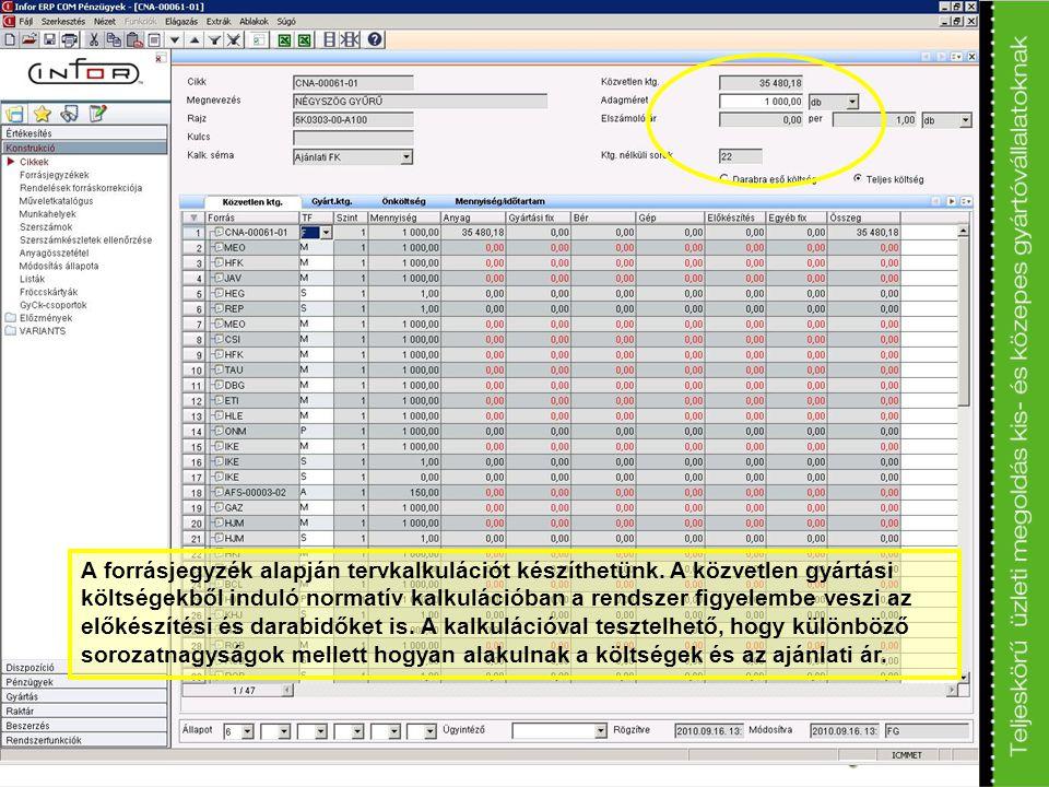 A forrásjegyzék alapján tervkalkulációt készíthetünk. A közvetlen gyártási költségekből induló normatív kalkulációban a rendszer figyelembe veszi az e