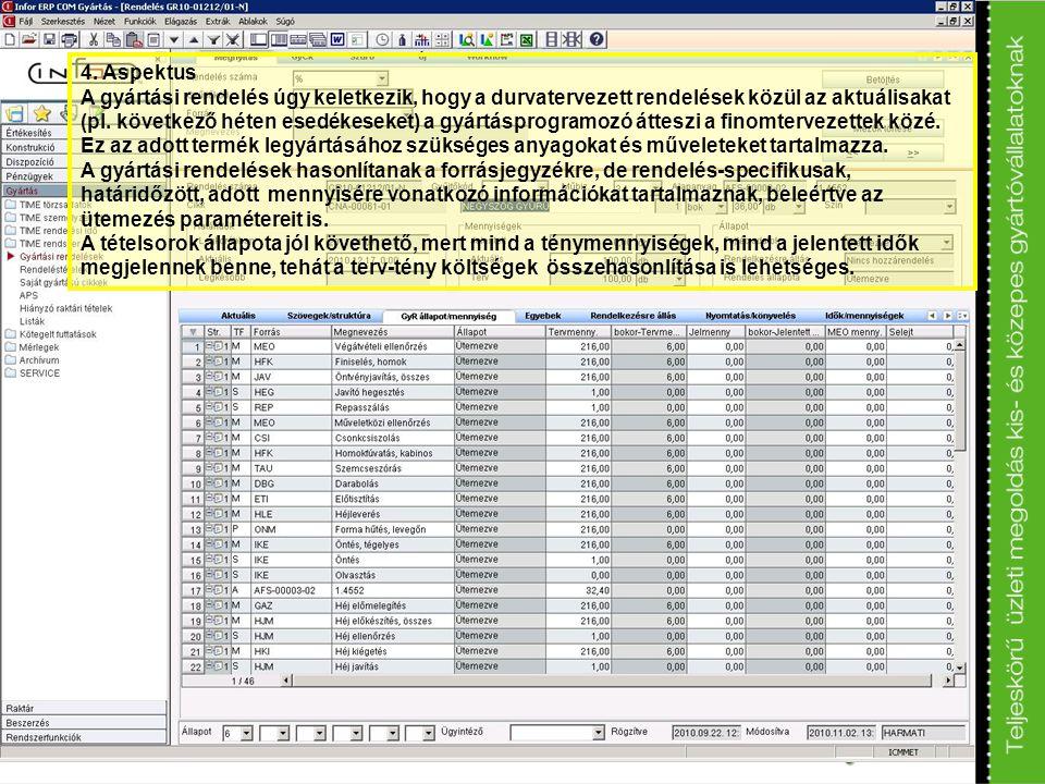 4. Aspektus A gyártási rendelés úgy keletkezik, hogy a durvatervezett rendelések közül az aktuálisakat (pl. következő héten esedékeseket) a gyártáspro