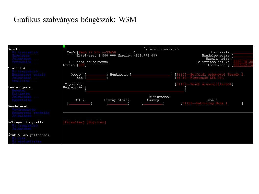 Grafikus szabványos böngészők: W3M