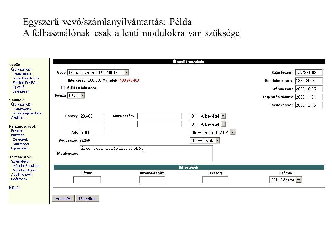 Egyszerű vevő/számlanyilvántartás: Példa A felhasználónak csak a lenti modulokra van szüksége