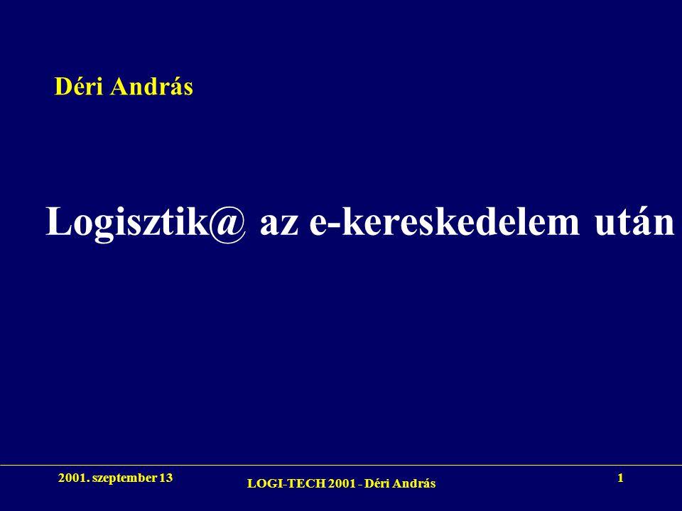 2001. szeptember 13 LOGI-TECH 2001 - Déri András 1 Logisztik@ az e-kereskedelem után Déri András