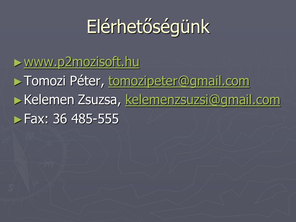 Elérhetőségünk ► www.p2mozisoft.hu www.p2mozisoft.hu ► Tomozi Péter, tomozipeter@gmail.com tomozipeter@gmail.com ► Kelemen Zsuzsa, kelemenzsuzsi@gmail.com kelemenzsuzsi@gmail.com ► Fax: 36 485-555
