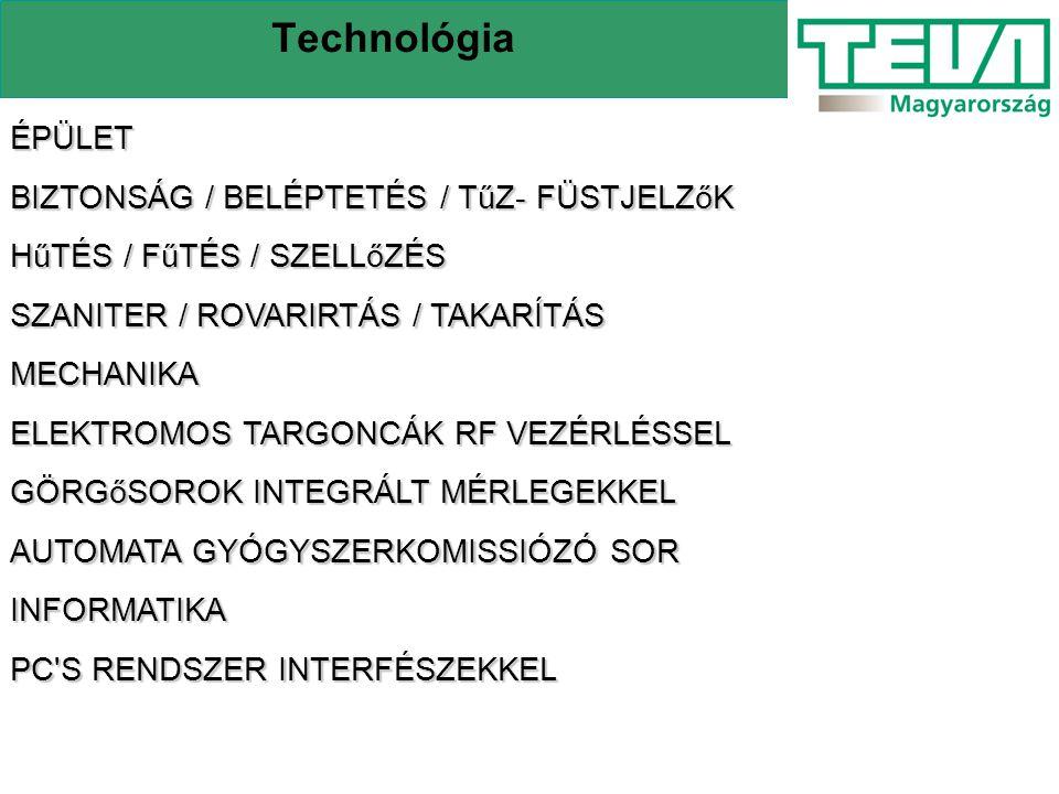 Technológia ÉPÜLET BIZTONSÁG / BELÉPTETÉS / TűZ- FÜSTJELZőK HűTÉS / FűTÉS / SZELLőZÉS SZANITER / ROVARIRTÁS / TAKARÍTÁS MECHANIKA ELEKTROMOS TARGONCÁK