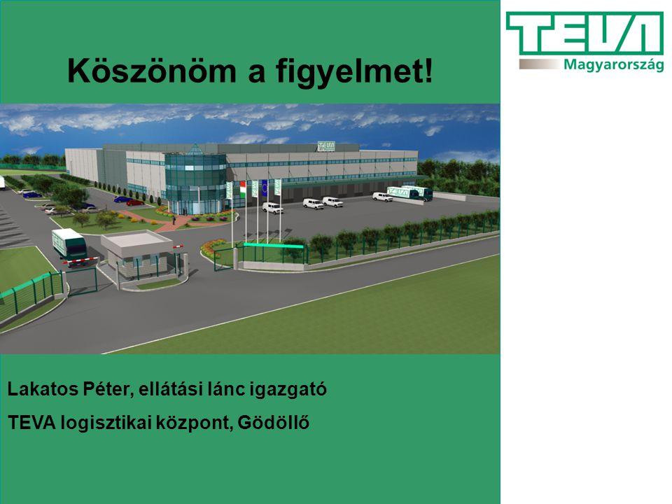 Köszönöm a figyelmet! Lakatos Péter, ellátási lánc igazgató TEVA logisztikai központ, Gödöllő
