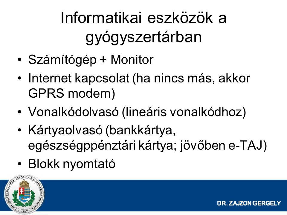 DR. Z AJZON G ERGELY Informatikai eszközök a gyógyszertárban Számítógép + Monitor Internet kapcsolat (ha nincs más, akkor GPRS modem) Vonalkódolvasó (