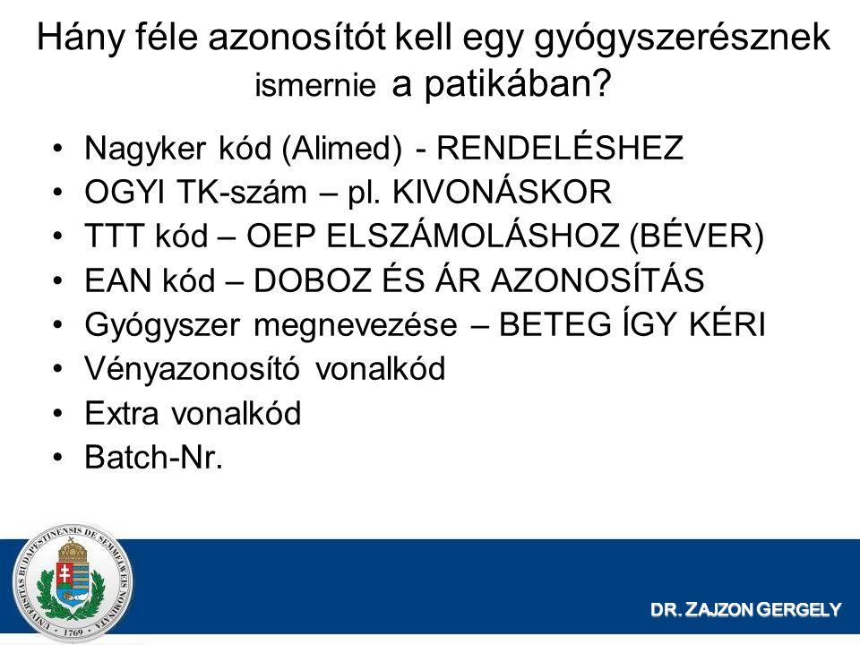 DR. Z AJZON G ERGELY Hány féle azonosítót kell egy gyógyszerésznek ismernie a patikában? Nagyker kód (Alimed) - RENDELÉSHEZ OGYI TK-szám – pl. KIVONÁS