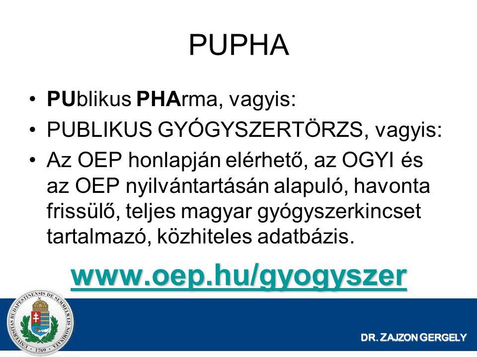 DR. Z AJZON G ERGELY PUPHA PUblikus PHArma, vagyis: PUBLIKUS GYÓGYSZERTÖRZS, vagyis: Az OEP honlapján elérhető, az OGYI és az OEP nyilvántartásán alap