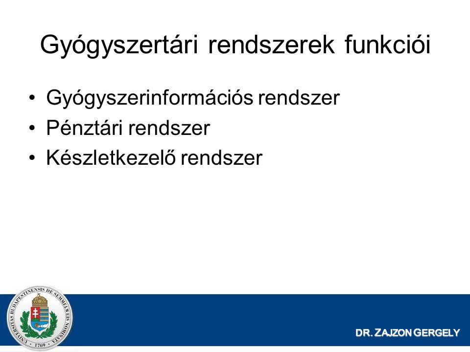 DR. Z AJZON G ERGELY Gyógyszertári rendszerek funkciói Gyógyszerinformációs rendszer Pénztári rendszer Készletkezelő rendszer