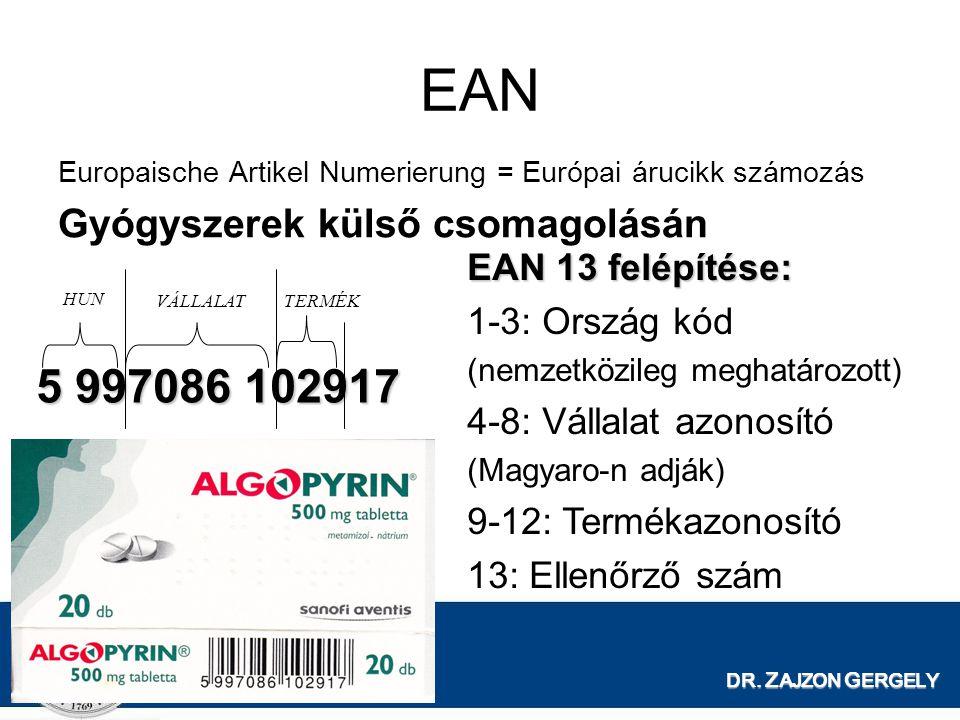 DR. Z AJZON G ERGELY EAN Europaische Artikel Numerierung = Európai árucikk számozás Gyógyszerek külső csomagolásán EAN 13 felépítése: 1-3: Ország kód