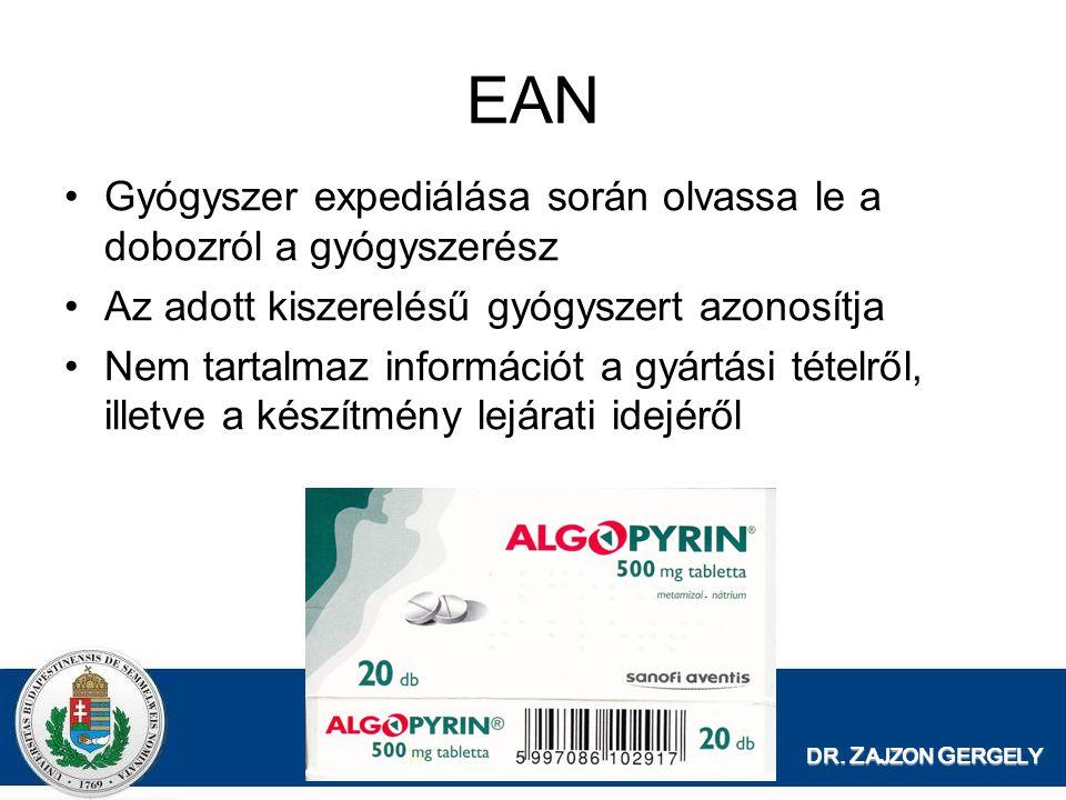 DR. Z AJZON G ERGELY EAN Gyógyszer expediálása során olvassa le a dobozról a gyógyszerész Az adott kiszerelésű gyógyszert azonosítja Nem tartalmaz inf