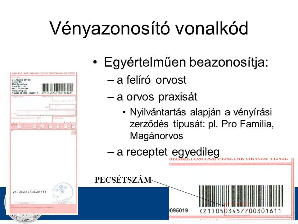 DR. Z AJZON G ERGELY Vényazonosító vonalkód Egyértelműen beazonosítja: –a felíró orvost –a orvos praxisát Nyilvántartás alapján a vényírási zerződés t