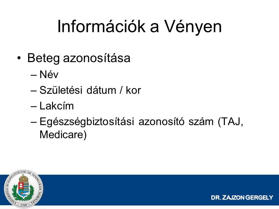 DR. Z AJZON G ERGELY Információk a Vényen Beteg azonosítása –Név –Születési dátum / kor –Lakcím –Egészségbiztosítási azonosító szám (TAJ, Medicare)