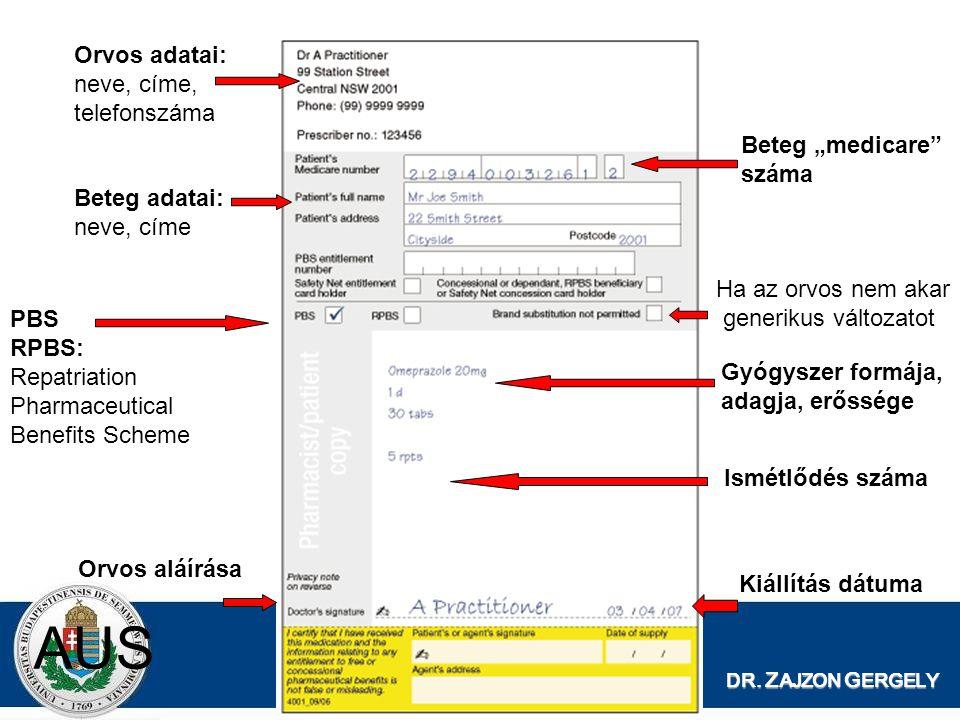 """DR. Z AJZON G ERGELY AUS Orvos adatai: neve, címe, telefonszáma Beteg """"medicare"""" száma Beteg adatai: neve, címe Orvos aláírása Kiállítás dátuma Gyógys"""