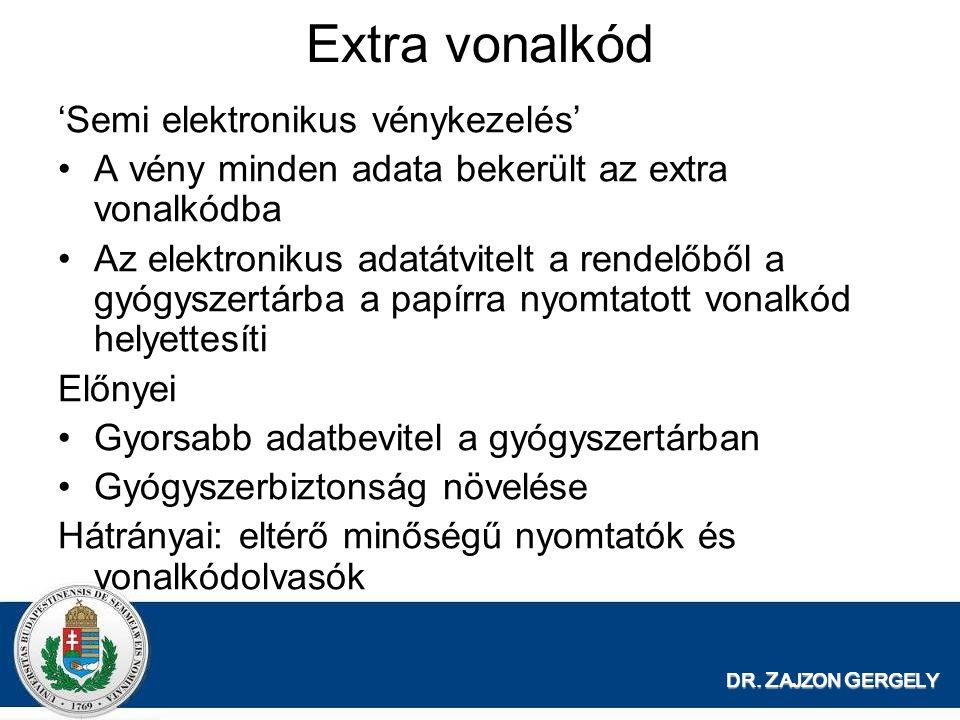 DR. Z AJZON G ERGELY Extra vonalkód 'Semi elektronikus vénykezelés' A vény minden adata bekerült az extra vonalkódba Az elektronikus adatátvitelt a re