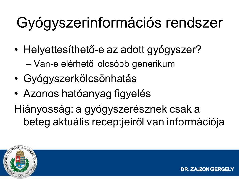 DR. Z AJZON G ERGELY Gyógyszerinformációs rendszer Helyettesíthető-e az adott gyógyszer? –Van-e elérhető olcsóbb generikum Gyógyszerkölcsönhatás Azono