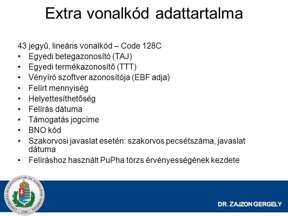 DR. Z AJZON G ERGELY Extra vonalkód adattartalma 43 jegyű, lineáris vonalkód – Code 128C Egyedi betegazonosító (TAJ) Egyedi termékazonosítő (TTT) Vény