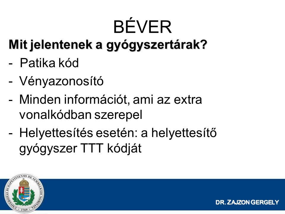 DR. Z AJZON G ERGELY BÉVER Mit jelentenek a gyógyszertárak? - Patika kód -Vényazonosító -Minden információt, ami az extra vonalkódban szerepel -Helyet