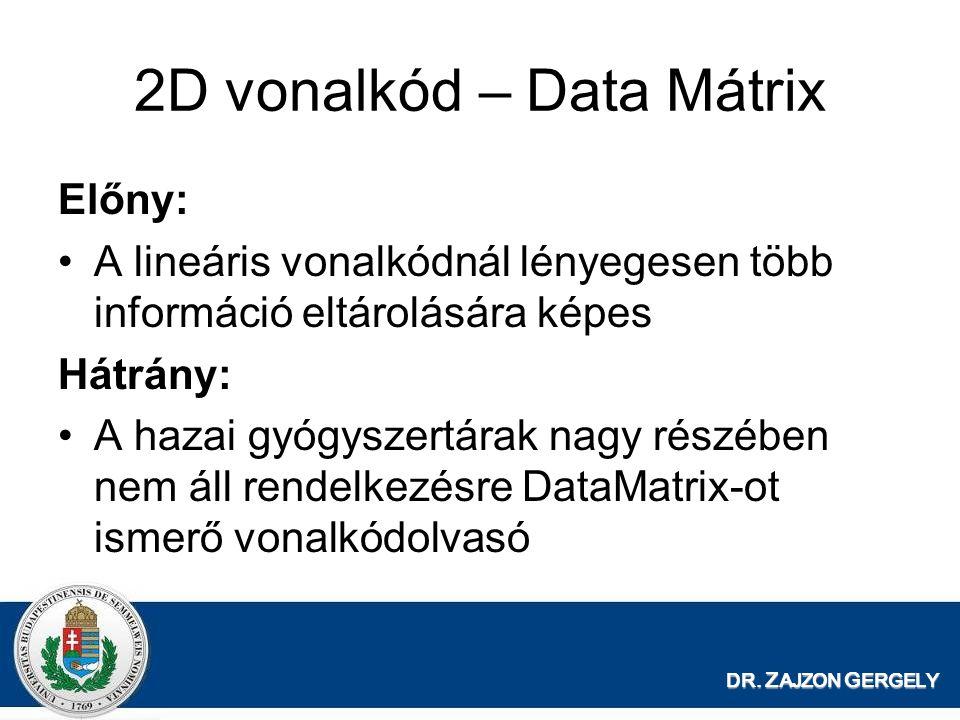 DR. Z AJZON G ERGELY 2D vonalkód – Data Mátrix Előny: A lineáris vonalkódnál lényegesen több információ eltárolására képes Hátrány: A hazai gyógyszert
