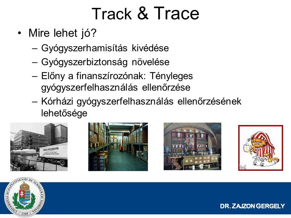 DR. Z AJZON G ERGELY Track & Trace Mire lehet jó? –Gyógyszerhamisítás kivédése –Gyógyszerbiztonság növelése –Előny a finanszírozónak: Tényleges gyógys