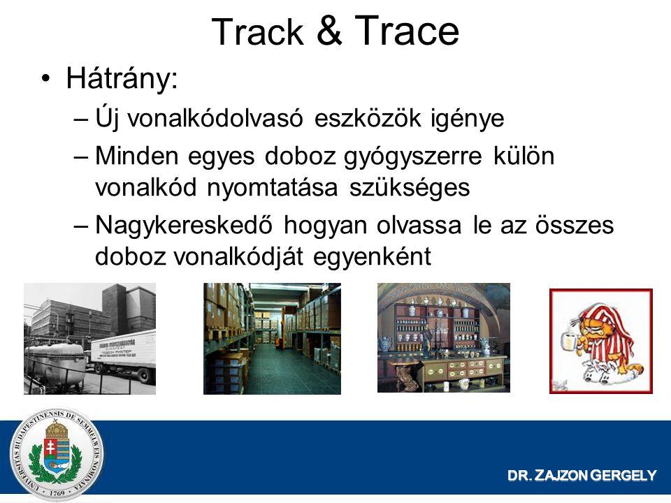 DR. Z AJZON G ERGELY Track & Trace Hátrány: –Új vonalkódolvasó eszközök igénye –Minden egyes doboz gyógyszerre külön vonalkód nyomtatása szükséges –Na