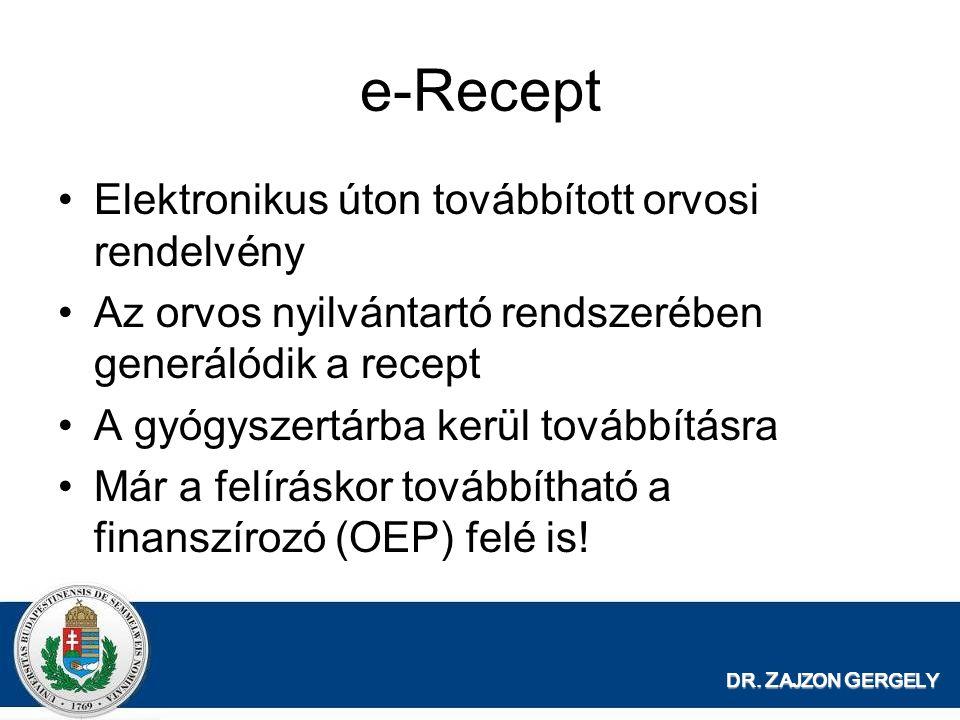 DR. Z AJZON G ERGELY e-Recept Elektronikus úton továbbított orvosi rendelvény Az orvos nyilvántartó rendszerében generálódik a recept A gyógyszertárba