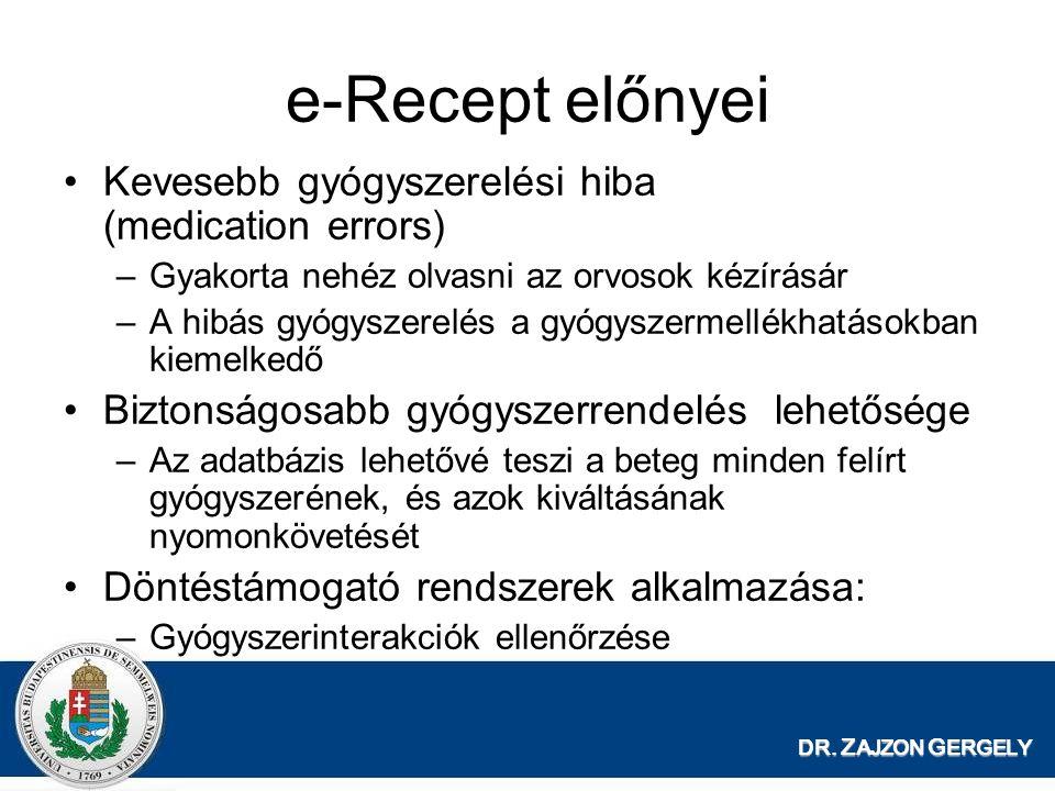 DR. Z AJZON G ERGELY e-Recept előnyei Kevesebb gyógyszerelési hiba (medication errors) –Gyakorta nehéz olvasni az orvosok kézírásár –A hibás gyógyszer