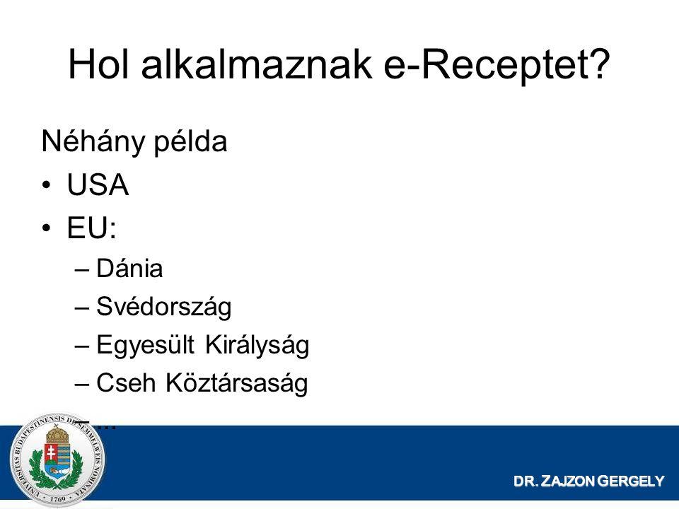 DR. Z AJZON G ERGELY Hol alkalmaznak e-Receptet? Néhány példa USA EU: –Dánia –Svédország –Egyesült Királyság –Cseh Köztársaság –...