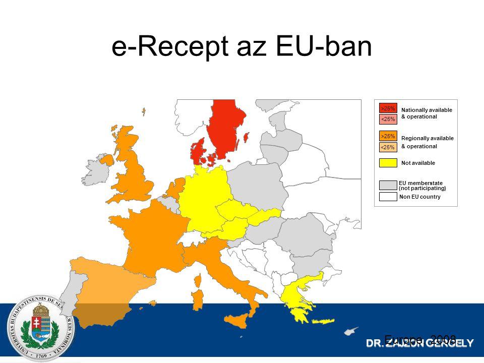 DR. Z AJZON G ERGELY e-Recept az EU-ban Nationally available & operational Regionally available & operational Not available EU memberstate (not partic