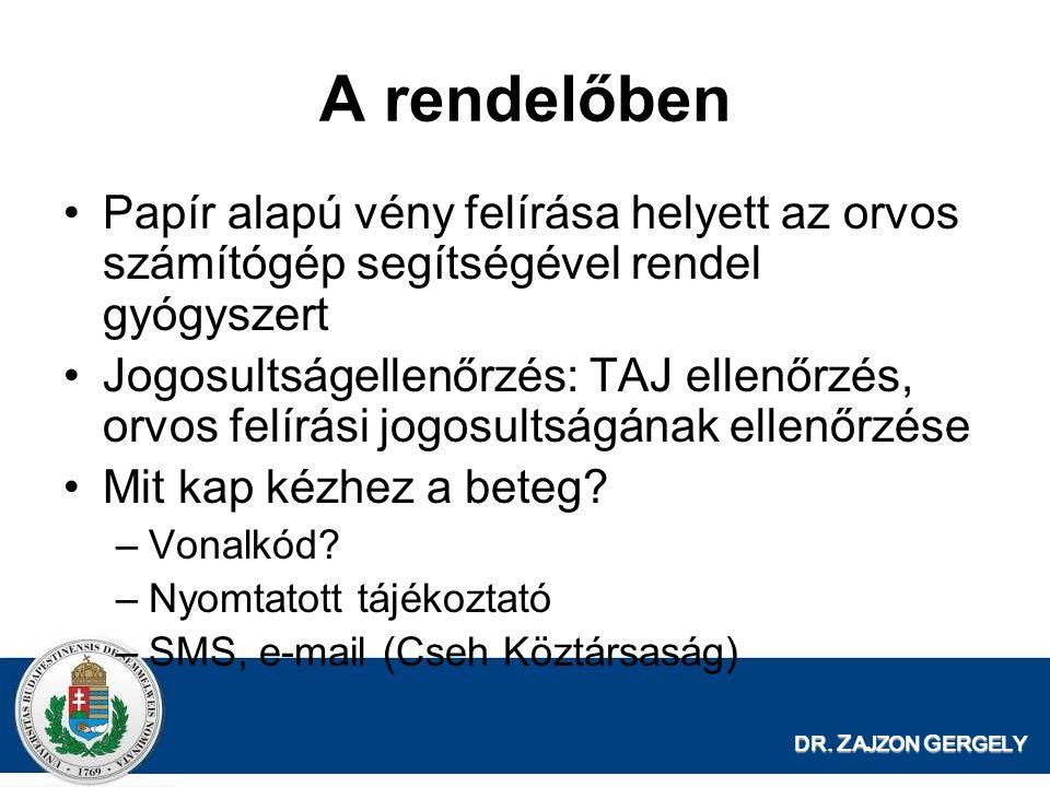 DR. Z AJZON G ERGELY A rendelőben Papír alapú vény felírása helyett az orvos számítógép segítségével rendel gyógyszert Jogosultságellenőrzés: TAJ elle