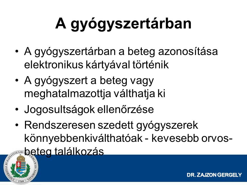 DR. Z AJZON G ERGELY A gyógyszertárban A gyógyszertárban a beteg azonosítása elektronikus kártyával történik A gyógyszert a beteg vagy meghatalmazottj