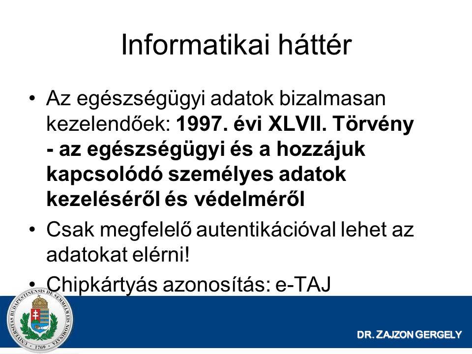 DR. Z AJZON G ERGELY Informatikai háttér Az egészségügyi adatok bizalmasan kezelendőek: 1997. évi XLVII. Törvény - az egészségügyi és a hozzájuk kapcs