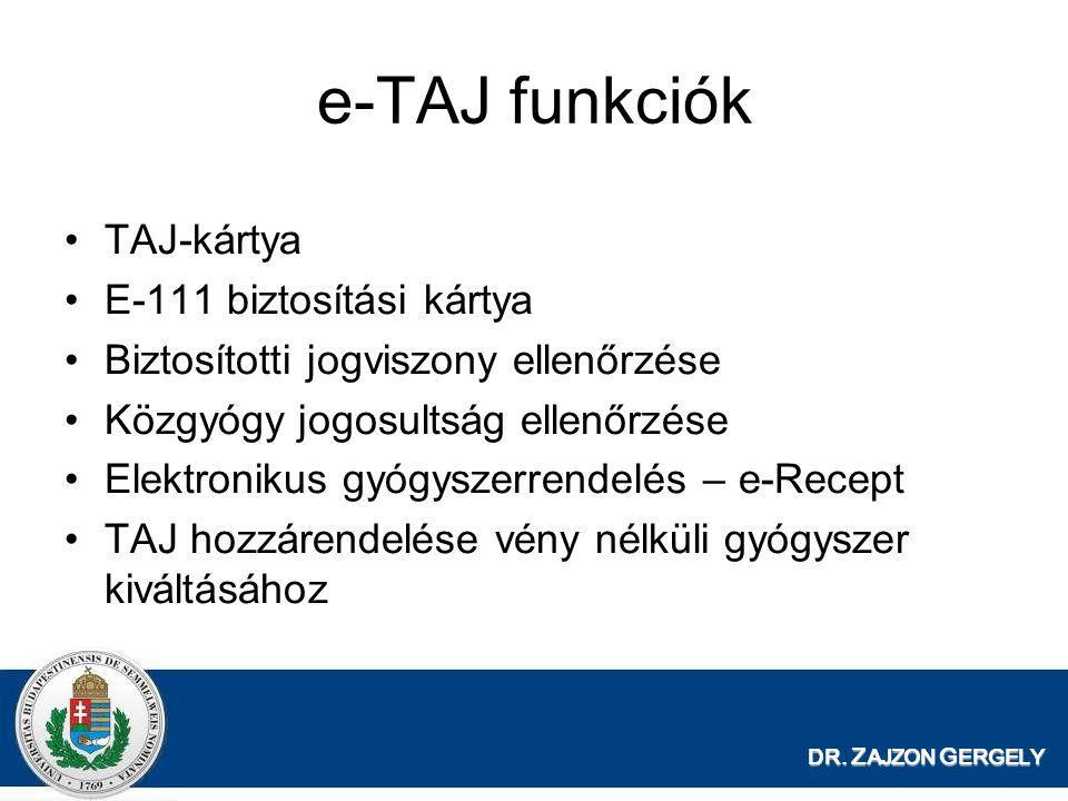 DR. Z AJZON G ERGELY e-TAJ funkciók TAJ-kártya E-111 biztosítási kártya Biztosítotti jogviszony ellenőrzése Közgyógy jogosultság ellenőrzése Elektroni