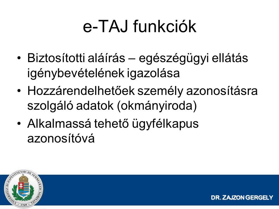 DR. Z AJZON G ERGELY e-TAJ funkciók Biztosítotti aláírás – egészégügyi ellátás igénybevételének igazolása Hozzárendelhetőek személy azonosításra szolg
