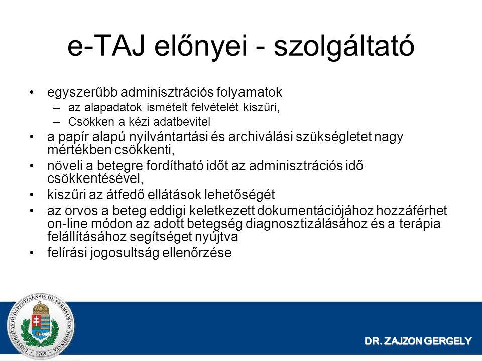 DR. Z AJZON G ERGELY e-TAJ előnyei - szolgáltató egyszerűbb adminisztrációs folyamatok –az alapadatok ismételt felvételét kiszűri, –Csökken a kézi ada