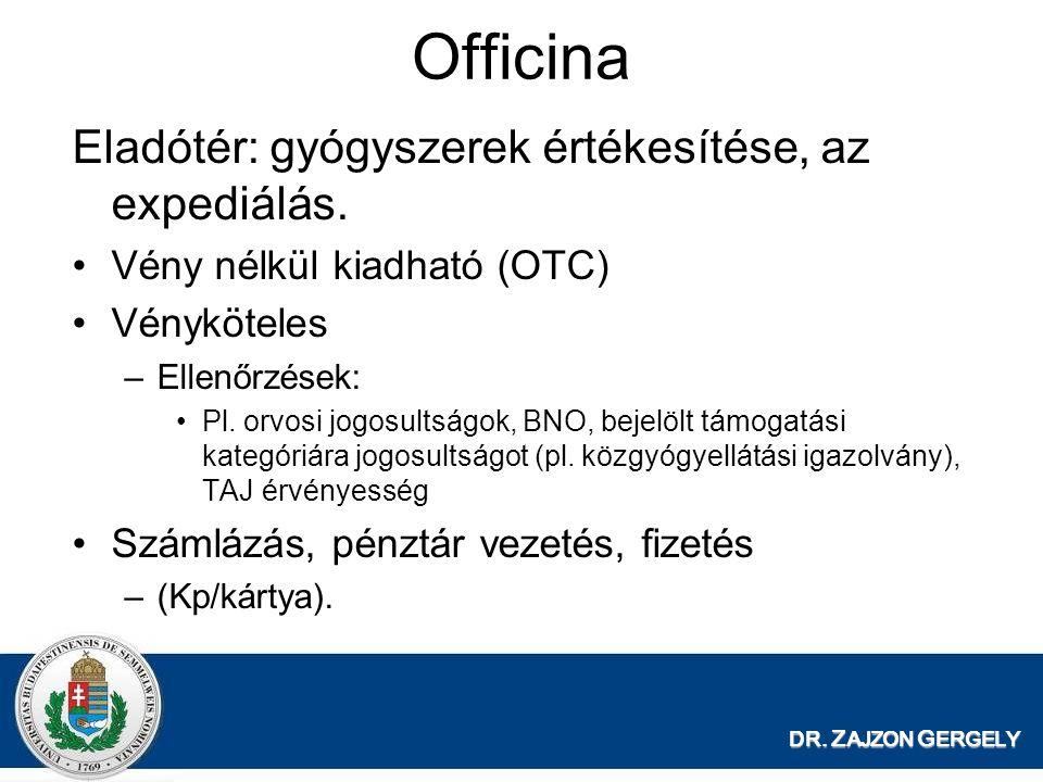 Officina Eladótér: gyógyszerek értékesítése, az expediálás. Vény nélkül kiadható (OTC) Vényköteles –Ellenőrzések: Pl. orvosi jogosultságok, BNO, bejel