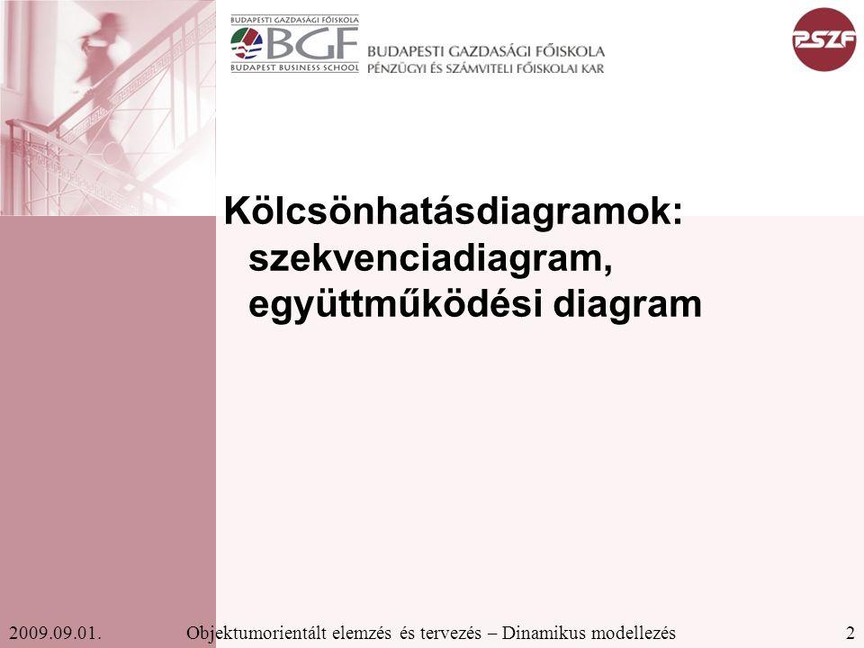 2Objektumorientált elemzés és tervezés – Dinamikus modellezés2009.09.01.
