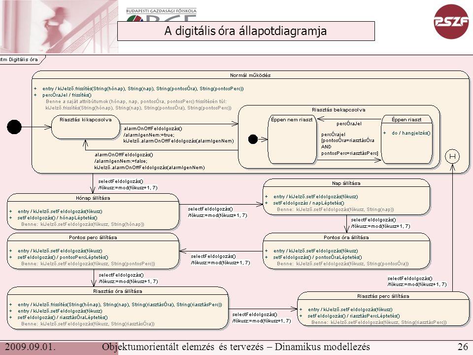 26Objektumorientált elemzés és tervezés – Dinamikus modellezés2009.09.01.