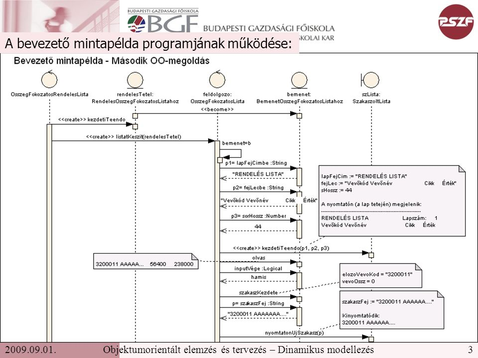 3Objektumorientált elemzés és tervezés – Dinamikus modellezés2009.09.01.