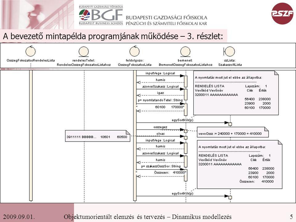 5Objektumorientált elemzés és tervezés – Dinamikus modellezés2009.09.01.