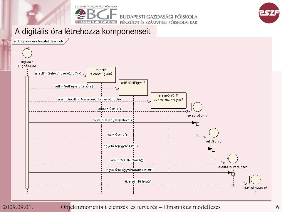 17Objektumorientált elemzés és tervezés – Dinamikus modellezés2009.09.01. Állapot(átmenet)diagram
