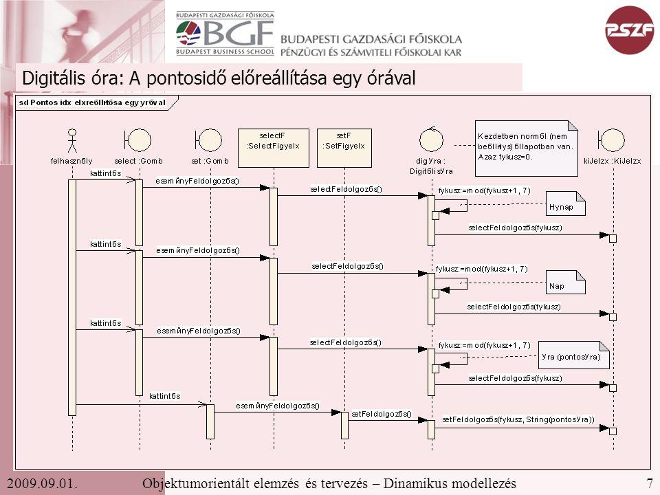 18Objektumorientált elemzés és tervezés – Dinamikus modellezés2009.09.01. Rendelés állapotdiagramja