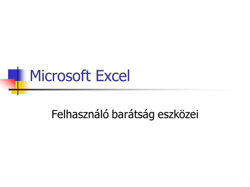 Microsoft Excel Felhasználó barátság eszközei