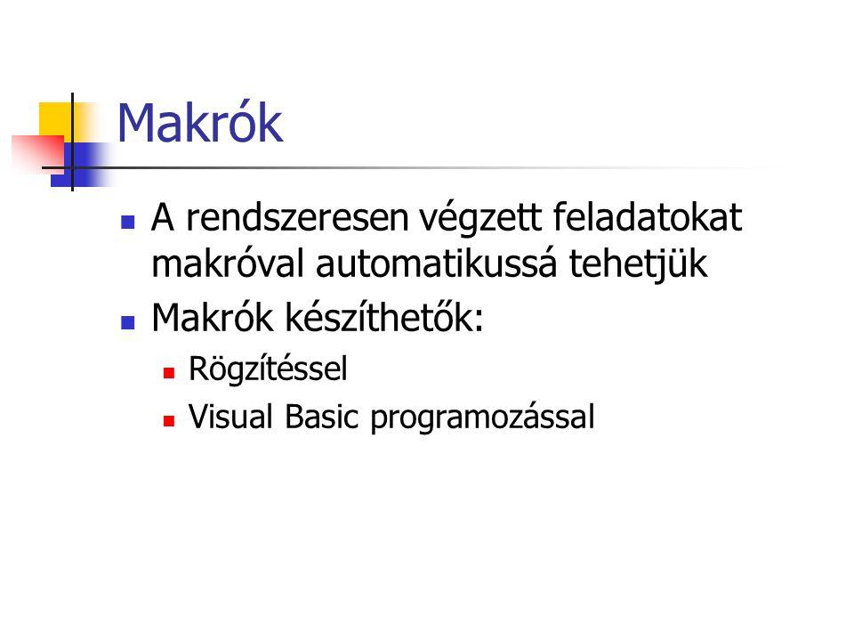 Makrók A rendszeresen végzett feladatokat makróval automatikussá tehetjük Makrók készíthetők: Rögzítéssel Visual Basic programozással