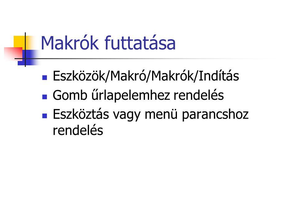 Makrók futtatása Eszközök/Makró/Makrók/Indítás Gomb űrlapelemhez rendelés Eszköztás vagy menü parancshoz rendelés