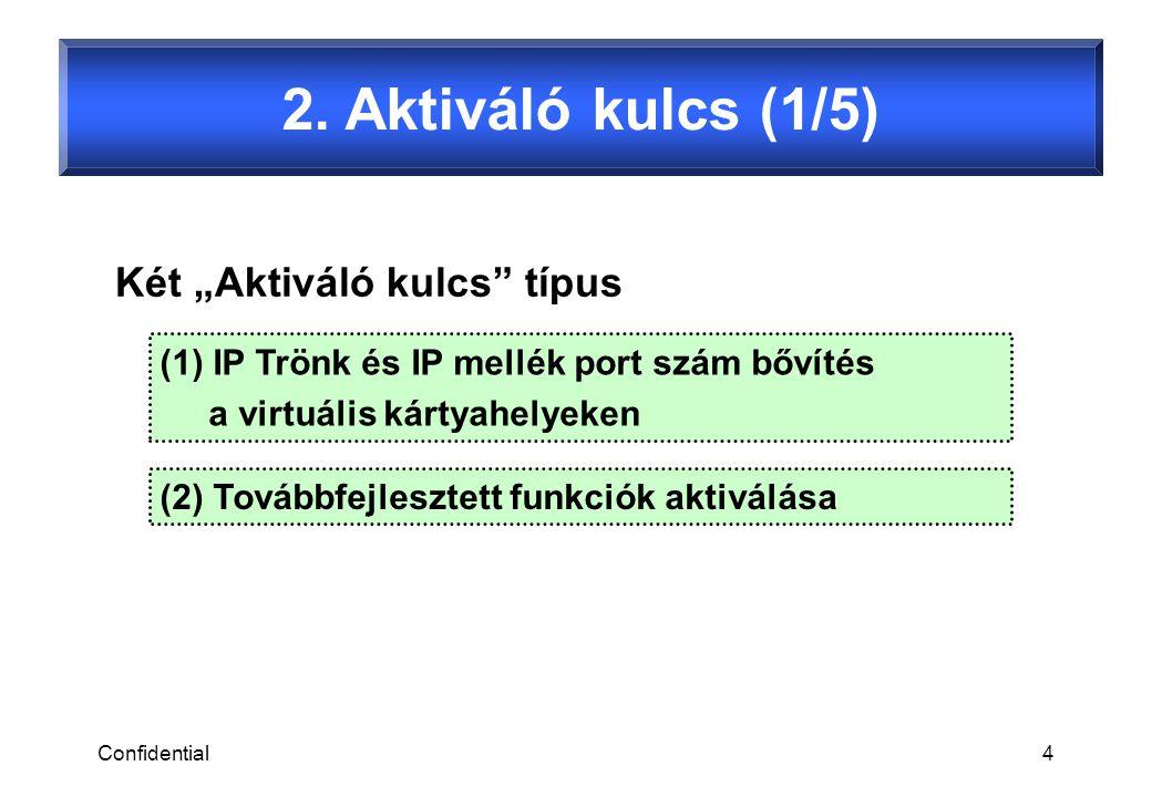 Confidential5 VoIP DSP kártyák a következő előre-telepített aktiváló kulcsokat tartalmazzák… 2.