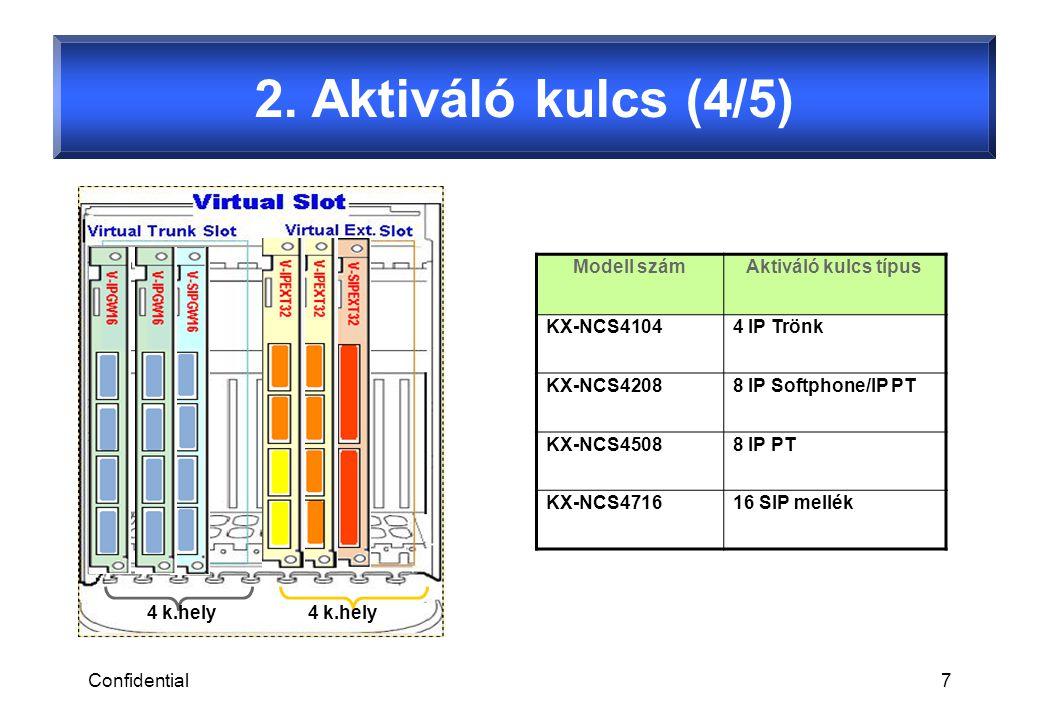 Confidential8 2.Aktiváló kulcs (5/5) 16*2 KX-NCS4716 = 32 SIP mellék aktiválható kártyánként.